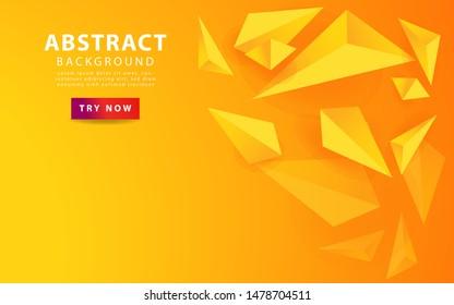 3d triangle orange yellow background. vector illustration.