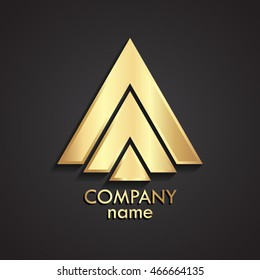 3d triangle shape abstract gold logo