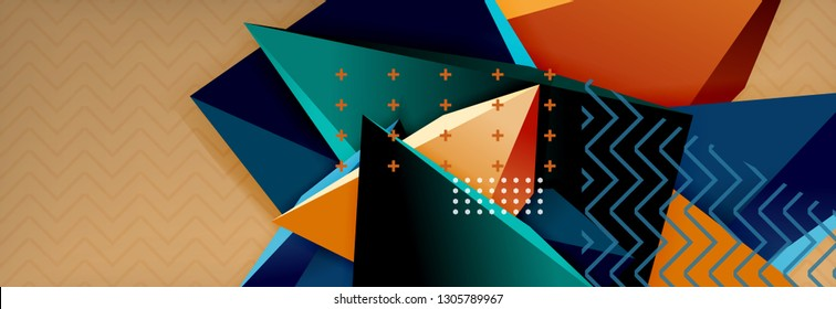 3d triangular shapes geometric background. Origami style pattern with triange shapes for decorative design. Poster design. Line design. Modern presentation vector template