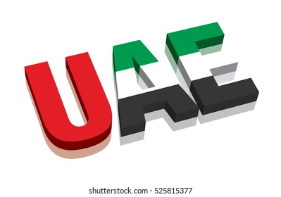 3D UAE United Arab Emirates Word Text Flag (letters)