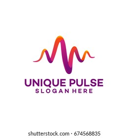 3d Unique Pulse Logo template designs vector illustration