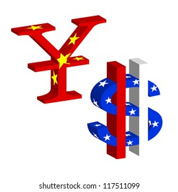 3D US dollar and Chinese dollar symbol