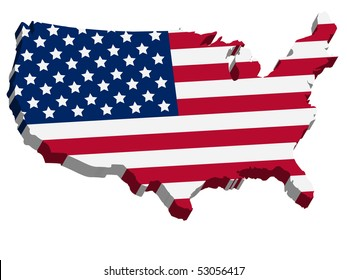 3D USA map with US flag