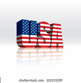 3D USA Word Text Vector American Flag