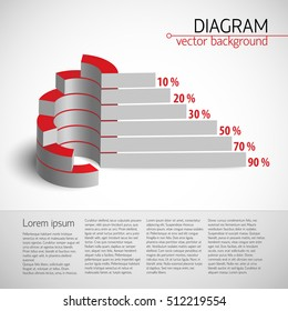 3d usiness diagram template with realistic chart with bar graph and percentages vector illustration