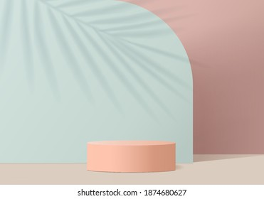 3d valentine background products display scene with podium platform. Green 3d podium vector rendering background. podium display for cosmetic products. Stage display 3d studio pedestal product display