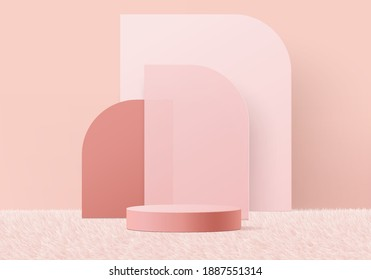 3d valentine background products display podium on pink carpet platform. background vector 3d rendering with podium. gold stand for show products. Stage display on pedestal pink carpet podium studio