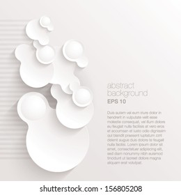 3D Vector abstract background composed of overlapping white paper circles