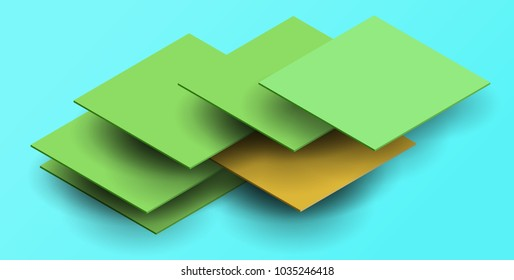 3d vector abstract background with squares in isometric view. Cartoon art illustration in minimalistic craft carving style. Modern layout colorful concept cover, poster, card.