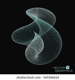 3D vector abstract organic form consists of particles and wireframe on dark background. Concept design for science, technological illustration.