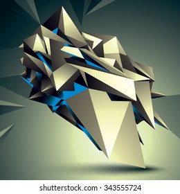 3D vector abstract technology illustration, perspective geometric unusual object. Origami shape.