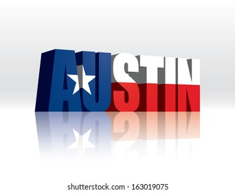 3D Vector Austin (Texas) Word Text Flag