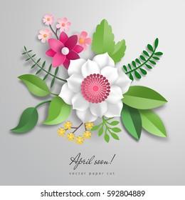 3d vector bouquet of paper flowers. Paper cut style. Inscription April soon