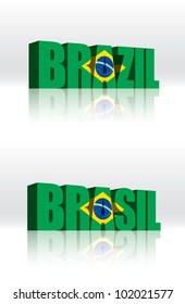 3D Vector Brazil (Brasil) Word Text Flag