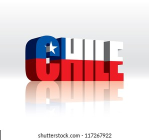 3D Vector Chile Word Text Flag