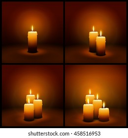 3D Vector Christmas and Advent Candles with Candlelight - Brown and Warm Greeting Card Templates with Light.