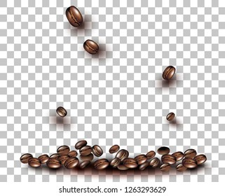 3d Vector Coffee Beans on a transparent background. Falling grains for posters, flyers, posters, for the sale of coffee.