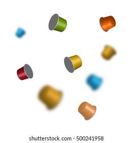 3D vector coffee capsules, multicolored espresso pods.
