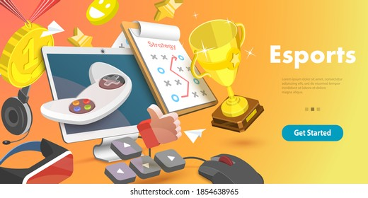 3D Vector Conceptual Illustration for Computer Gaming Industry, eSport Competition, Video Games and Cybersport  Training.