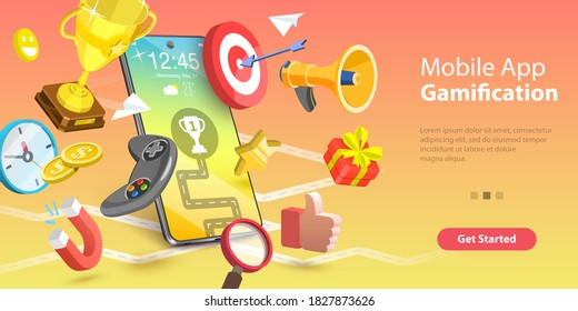 3D Vector Conceptual Illustration of Mobile App Gamification, Interactive Content For Audience Engaging, Encouraging Customers to Earn Rewards.