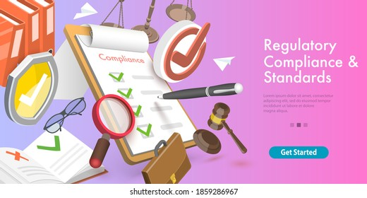 3D Vector Conceptual Illustration of Regulatory Compliance and Standards, Policies and Regulations.