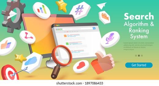 3D Vector Conceptual Illustration of SEO Algorithm, Web Search Engine, Page Optimization, Digital Marketing.