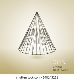 3d vector cone consists of wireframes and points