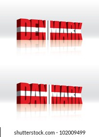 3D Vector Denmark (Danmark) Word Text Flag