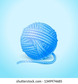 3d Vector detailed illustration of knitting yarn ball. Isolated on background