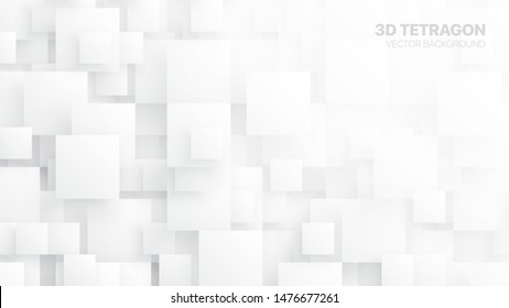 3D Vector Different Size Tetragons Technologic White Conceptual Abstract Background. Tech Clear Blank Subtle Textured Backdrop. Science Technology Square Blocks Structure Light Wallpaper