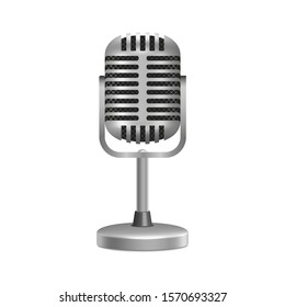 3D vector drawing. Stationary metal microphone Isolated on a white background.