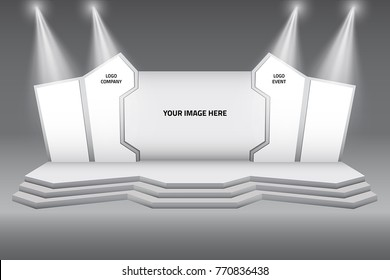 3d vector editable stage backdrop modern style with with spotlight and dark background and 3 stairs.