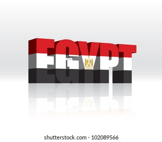 3D Vector Egypt Word Text Flag
