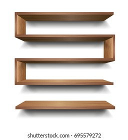 3d Vector Empty Wooden Wood Shelf Shelves Isolated on Wall Background. Vector illustration.