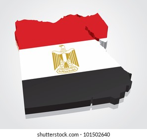 3D vector flag map of Egypt