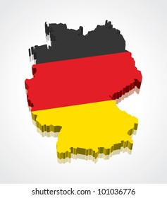 3D vector flag map of Germany