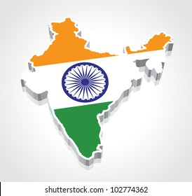 3D vector flag map of India