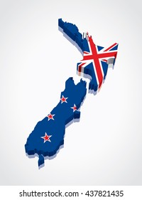 3D vector Flag Map of New Zealand
