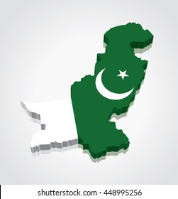 3D vector Flag Map of Pakistan