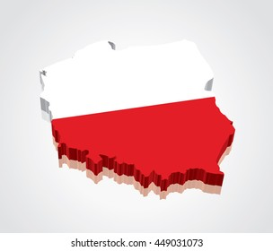 3D vector Flag Map of Poland