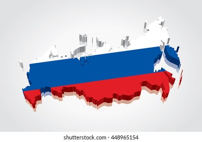 3D vector Flag Map of Russia