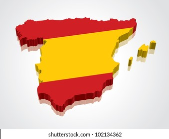 3D vector flag map of Spain