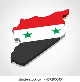 3D vector flag map of Syria