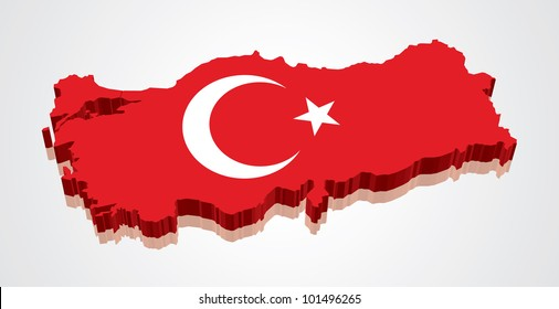 3D vector flag map of Turkey