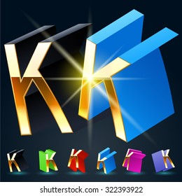 3D vector futuristic luxury alphabet with gold. All symbols in set have 8 random points of view and 6 different colors. Letter K
