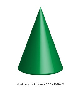 3d vector geometric figure of a cone. Isolated on white background.