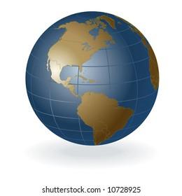 3D vector globe, america