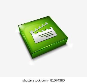 3d vector glossy clapper board web icon design element.