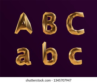 3D Vector Golden Alphabet Font ABC letters for VIP Party Design