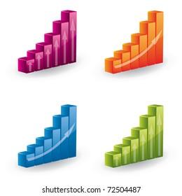 3d vector graph set - icons
